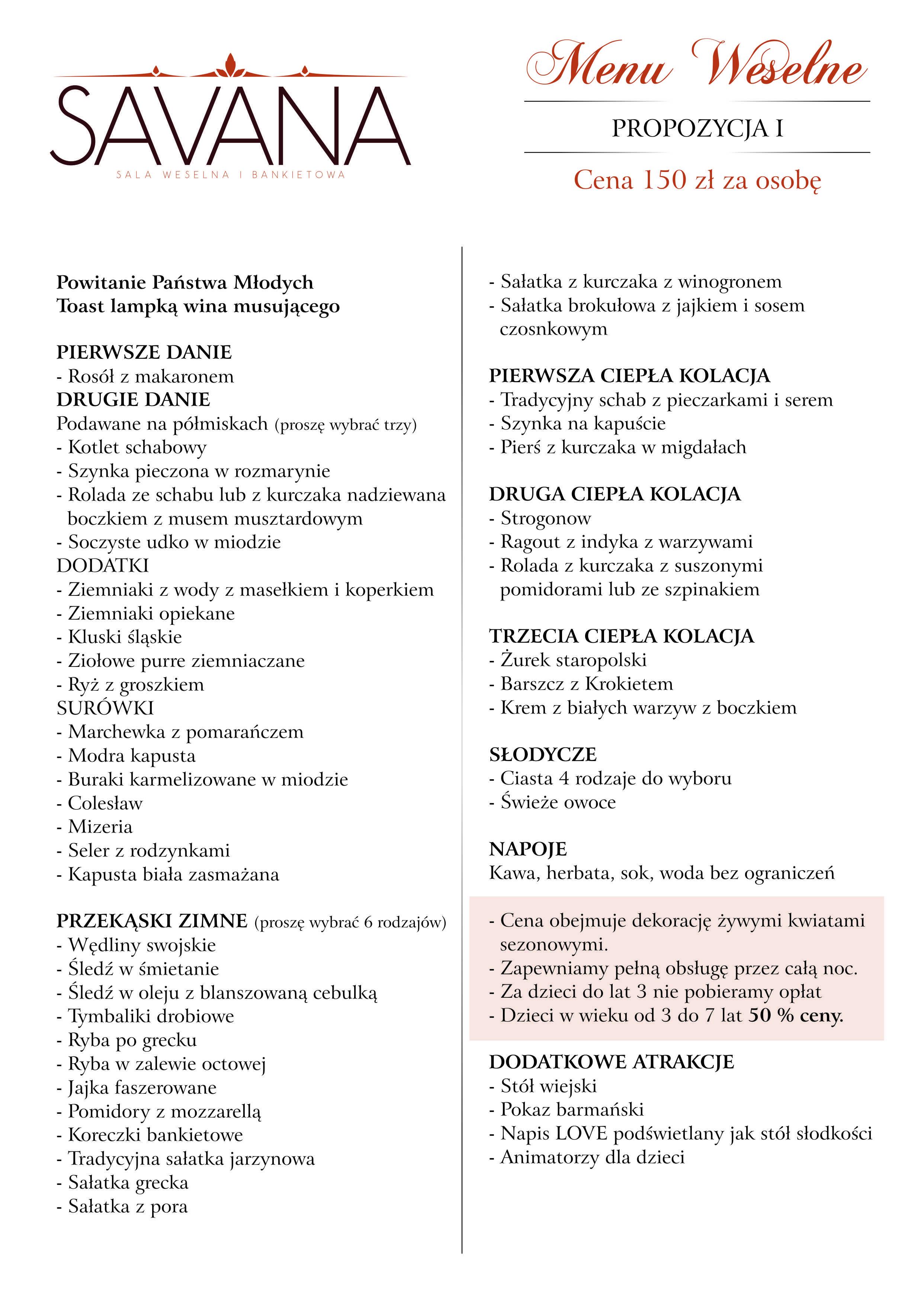 menu 150
